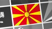 Northern Macedonia National Flag Of Country. Northern Macedonia Flag On The Display, A Digital Moire poster