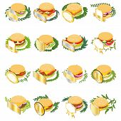Best Sandwich Icons Set. Isometric Set Of 16 Best Sandwich Vector Icons For Web Isolated On White Ba poster