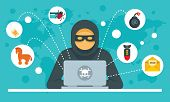 Cyber Attack Concept Background. Flat Illustration Of Cyber Attack Vector Concept Background For Web poster