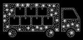 Glossy Mesh Goods Transportation Truck With Sparkle Effect. Abstract Illuminated Model Of Goods Tran poster