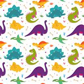 Jurassic Period Dinosaur Print In Hand Drawn Style. Cute Dinosaurs Pattern For Kids Illustration, Co poster