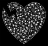 Flare Mesh Heart Crack With Glare Effect. Abstract Illuminated Model Of Heart Crack Icon. Shiny Wire poster
