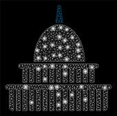 Flare Mesh Government Building With Glow Effect. Abstract Illuminated Model Of Government Building I poster