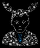 Glossy Mesh Horned Husband With Sparkle Effect. Abstract Illuminated Model Of Horned Husband Icon. S poster