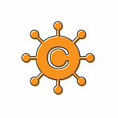 Orange Copywriting Network Icon Isolated On White Background. Content Networking Symbol. Copyright S poster