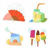 Cooling Things For Summer. Summer Chill Concept Illustration. Chill Fan, Shaved Ice, Lemon Lemonade, poster