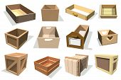 Box Package Vector Wooden Empty Drawers And Packed Boxes Or Packaging Crates With Wood Crated Contai poster