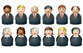 stock photo of clip-art staff  - an illustration of business people characters in suits - JPG