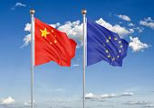 China Vs European Union. Thick Colored Silky Flags Of European Union And Belgium. 3d Illustration On poster