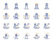 Lighthouse Line Icons. Searchlight Tower With Seagull For Marine Navigation Of Ships. Sea Pharos, Li poster