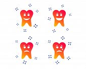 Tooth Smile Face Icons. Happy, Sad, Cry Signs. Happy Smiley Chat Symbol. Sadness Depression And Cryi poster