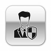 Black User Protection Icon Isolated On White Background. Secure User Login, Password Protected, Pers poster