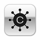 Black Copywriting Network Icon Isolated On White Background. Content Networking Symbol. Copyright Si poster