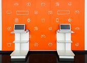 Point Orders Online Store Orange Color Interior. Online Shopping And Processing Room. E-point. Pick  poster