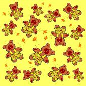 image of teddy-bear  - Funny bears with flowers on a yellow background - JPG