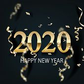 Happy New Year 2020 - New Year Shining Background With Gold And Glitter. Happy New Year Banner With  poster