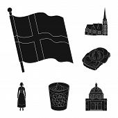 Traveling In Denmark Black Icons In Set Collection For Design. Denmark And Attractions Bitmap Symbol poster