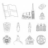 Traveling In Denmark Outline Icons In Set Collection For Design. Denmark And Attractions Bitmap Symb poster