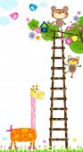 stock photo of tree house  - giraffe and little monkeys near a tree with a bird - JPG