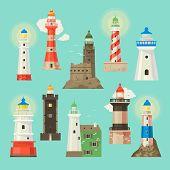 Lighthouse Beacon Lighter Beaming Path Of Lighting To Ses From Seaside Coast Illustration Set Of Lig poster