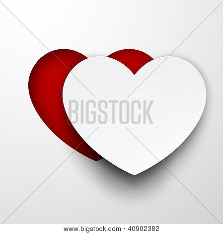 Vector illustration of white paper notched out heart. Eps10.