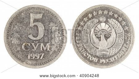 Uzbekistan Old Coin On The White Background (1997 Year)