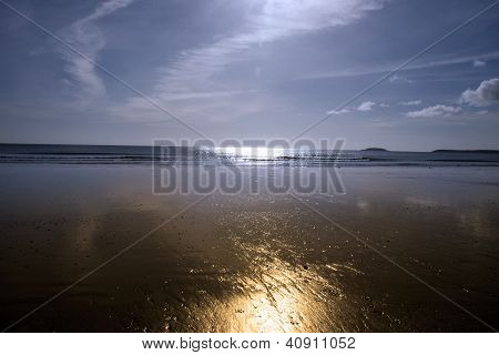 Sunshine Over The Golden Beach In Youghal