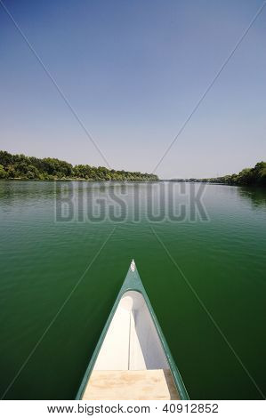 Bow Of A Canue On The River Sava Near Belgrade , Serbia