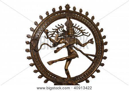 Indian Hindu God Shiva Nataraja - Lord Of Dance Statue Isolated On White
