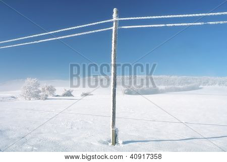 Empty Wild Winter Landscape Blue Sky, Snowy Telefony Lines