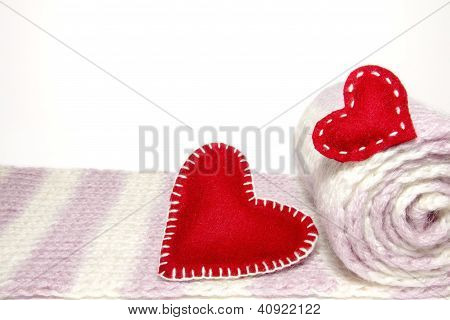 Red Hearts With Roll Of Wool Knitwear