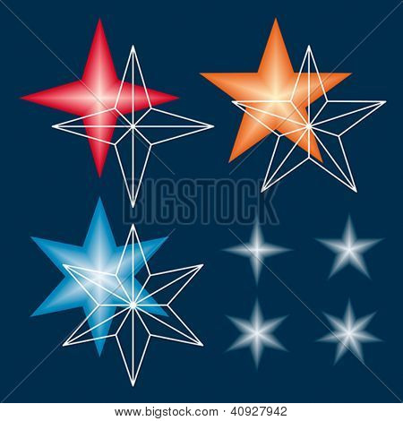 Template for making gradient stars from vector meshes. Vector format EPS 8, CMYK.