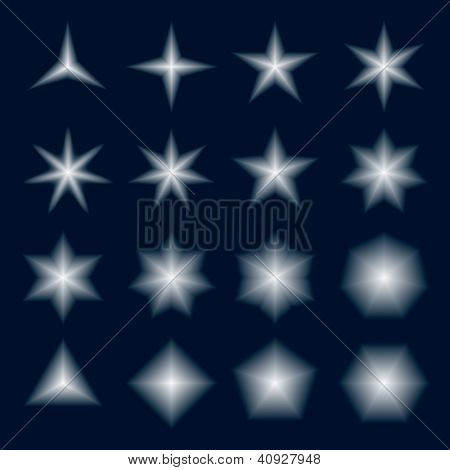 Set of stars and polygons with fading gradient from vector meshes. Vector format EPS 8, CMYK.