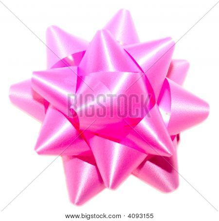 Pink Bow Isolated On White