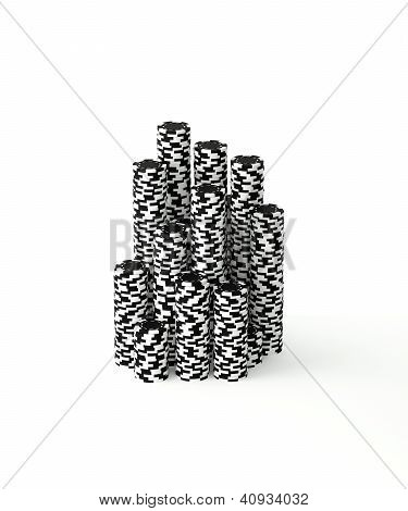 Isolated Stacks of Poker Chips