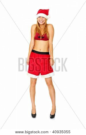A portrait of a sexy woman in Santa's hat standing over white background