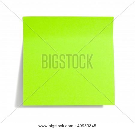 Green Sticky Note With Shade On White