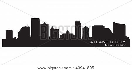 Atlantic City, New Jersey Skyline. Detailed Silhouette.