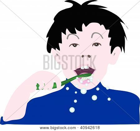 Illustration of A Kid Brushing His Teeth