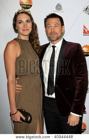 LOS ANGELES - JAN 12:  Kate Buckwald, Grant Bowler arrives at the 2013 G'Day USA Los Angeles Black Tie Gala at JW Marriott on January 12, 2013 in Los Angeles, CA..