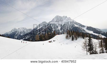 Ski Run At Kronplatz Ski Resort