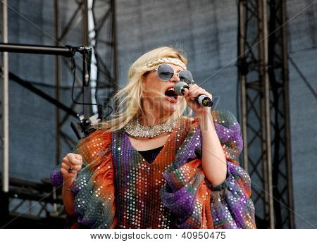 Romanian Singer Loredana Groza Sings On Stage