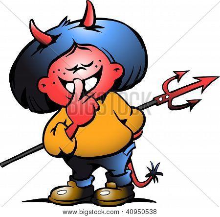 Hand-drawn Vector Illustration Of An Cute Devil Girl