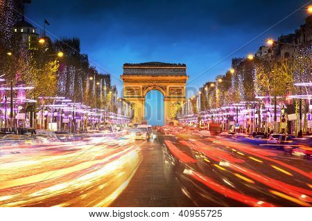 Arco do triunfo cidade de Paris ao entardecer - arco do Triunfo e Champs Elysees