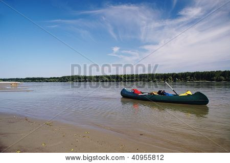 Canoeing on the river Danube , near Novi Sad , Serbia