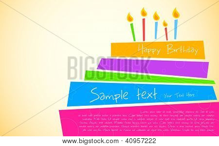 illustration of colorful birthday cake with pattern