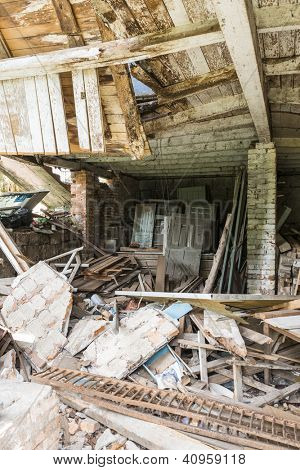 Inside shot of derelict building.