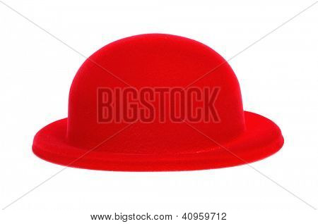 a red bowler hat on a white background