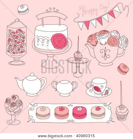 Happy Valentines Day set with bunting, cup cakes, roses, cake, tea, candles and macaroons