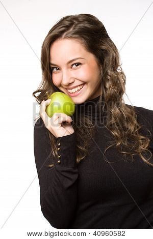 Fit Young Brunett With Apple.